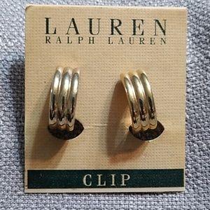 Ralph Lauren gold tone clip on earrings